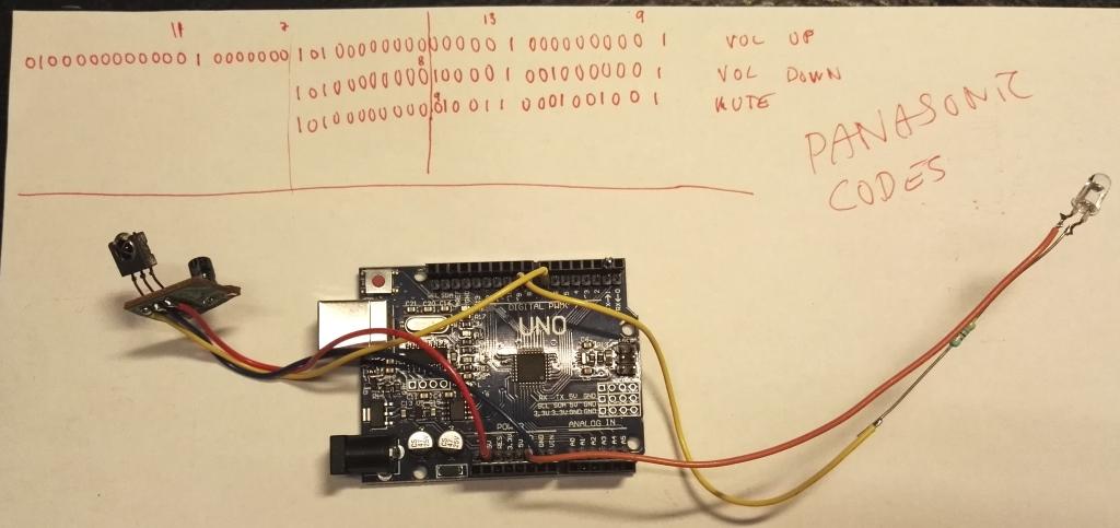 Arduino IR remote code converter Samsung TV to Panasonic